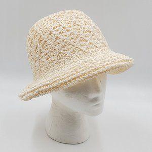 White Macramé / Crochet Straw Hat
